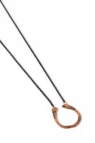 "Rose Gold Hammered ""U"" Necklace on Black Chain"