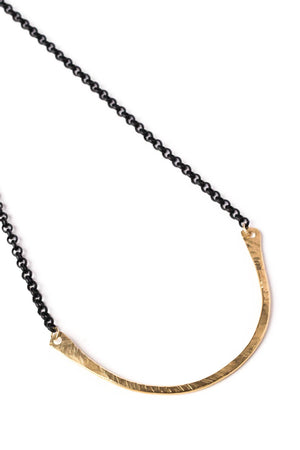 "Curved Wide ""U"" Brass Necklace on Black Chain"