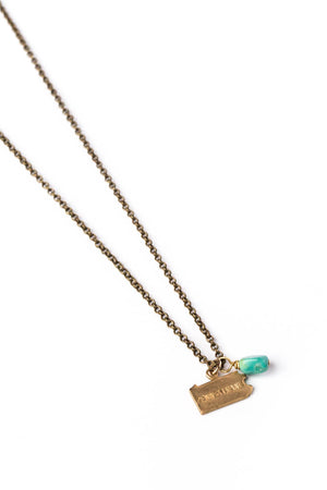 State Charm Necklace w/ Turquoise Nugget on Brass Rolo Chain