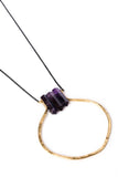 "Amethyst Trio Circle ""U"" Necklace on Black Chain"