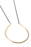 "Medium Flat Curved ""U"" Brass Necklace on Black Chain"