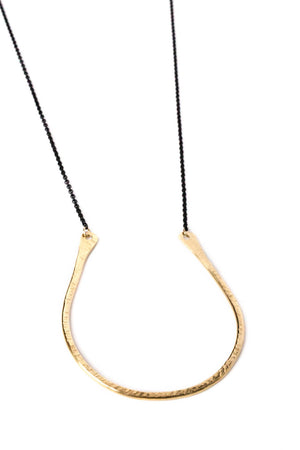 "Small Flat Curved ""U"" Necklace on Black Chain"