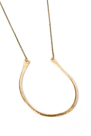 "Small Flat Curved ""U"" Necklace on Brass Chain"