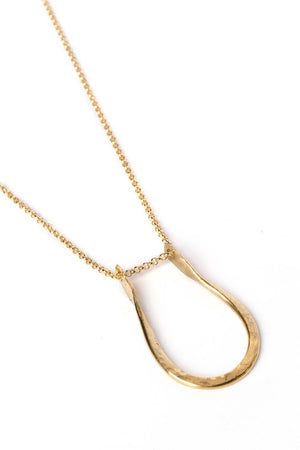"Pinched ""U"" Necklace on Gold Chain"