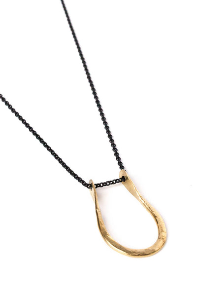 "Pinched ""U"" Necklace on Black Chain"