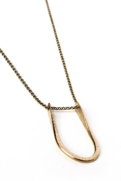 "Pinched ""U"" Necklace on Brass Chain"