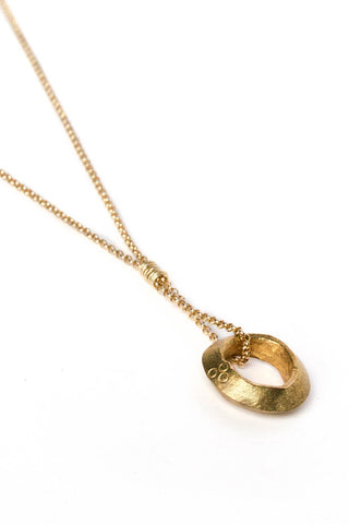 Golden Ethiopian Ring Necklace on Gold Chain
