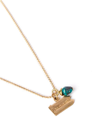 State Charm Necklace w/ Turquoise Nugget on Gold Ball Chain