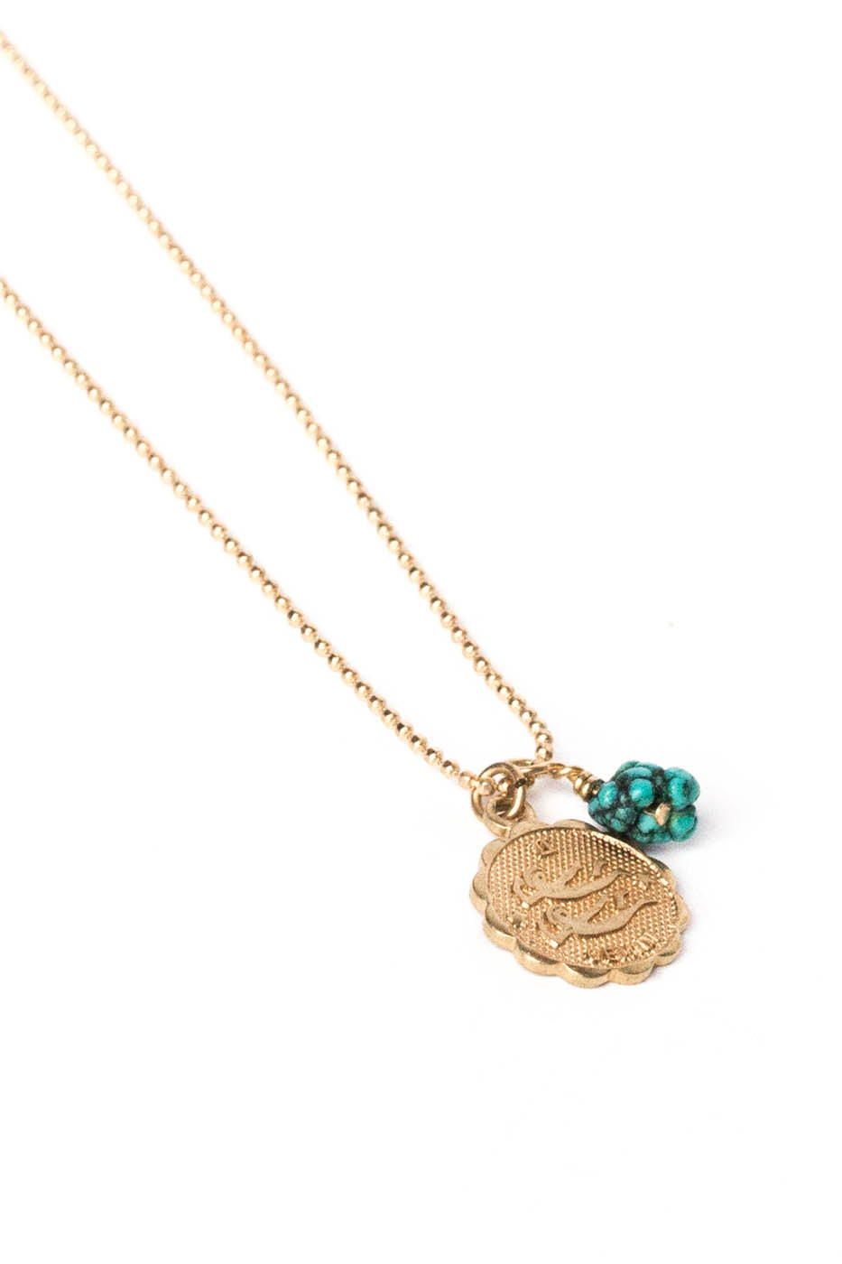 Zodiac Charm Necklace w/ Turquoise Nugget on Gold Ball Chain