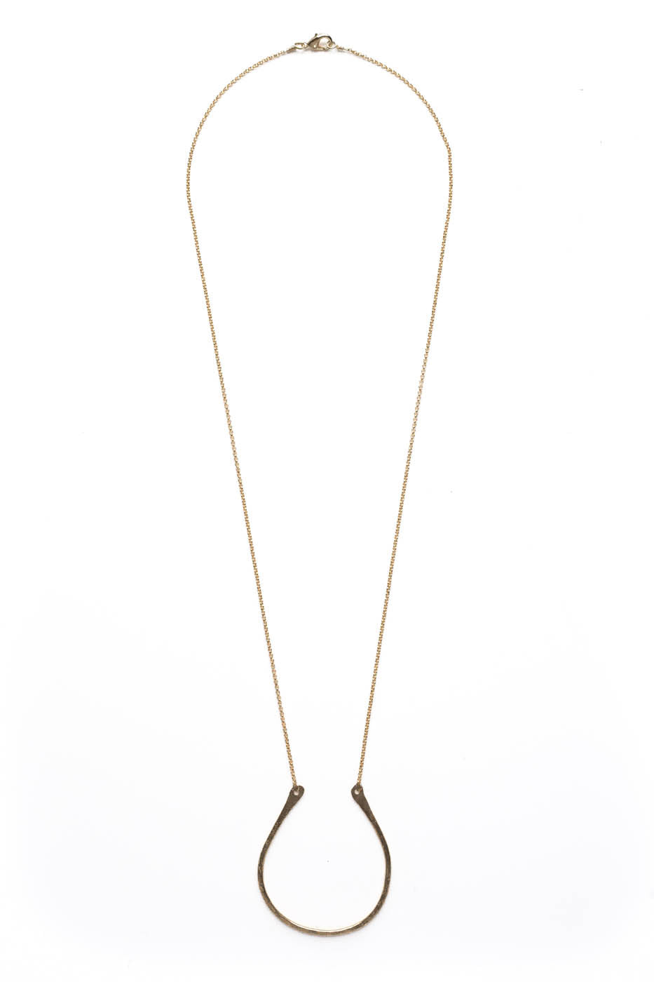 "Small Flat Curved ""U"" Necklace on Gold Chain"
