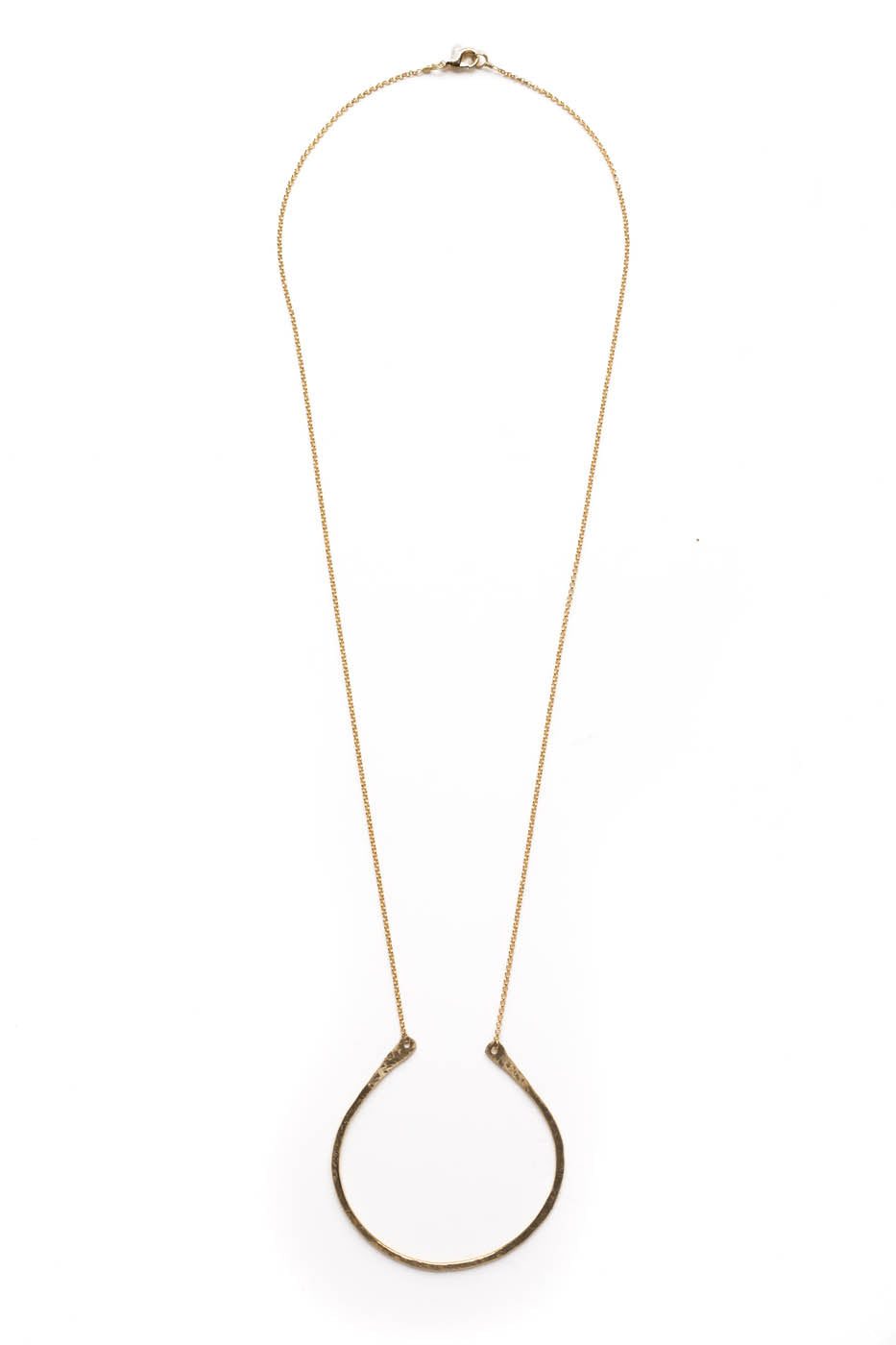 "Medium Flat Curved ""U"" Necklace on Gold Chain"