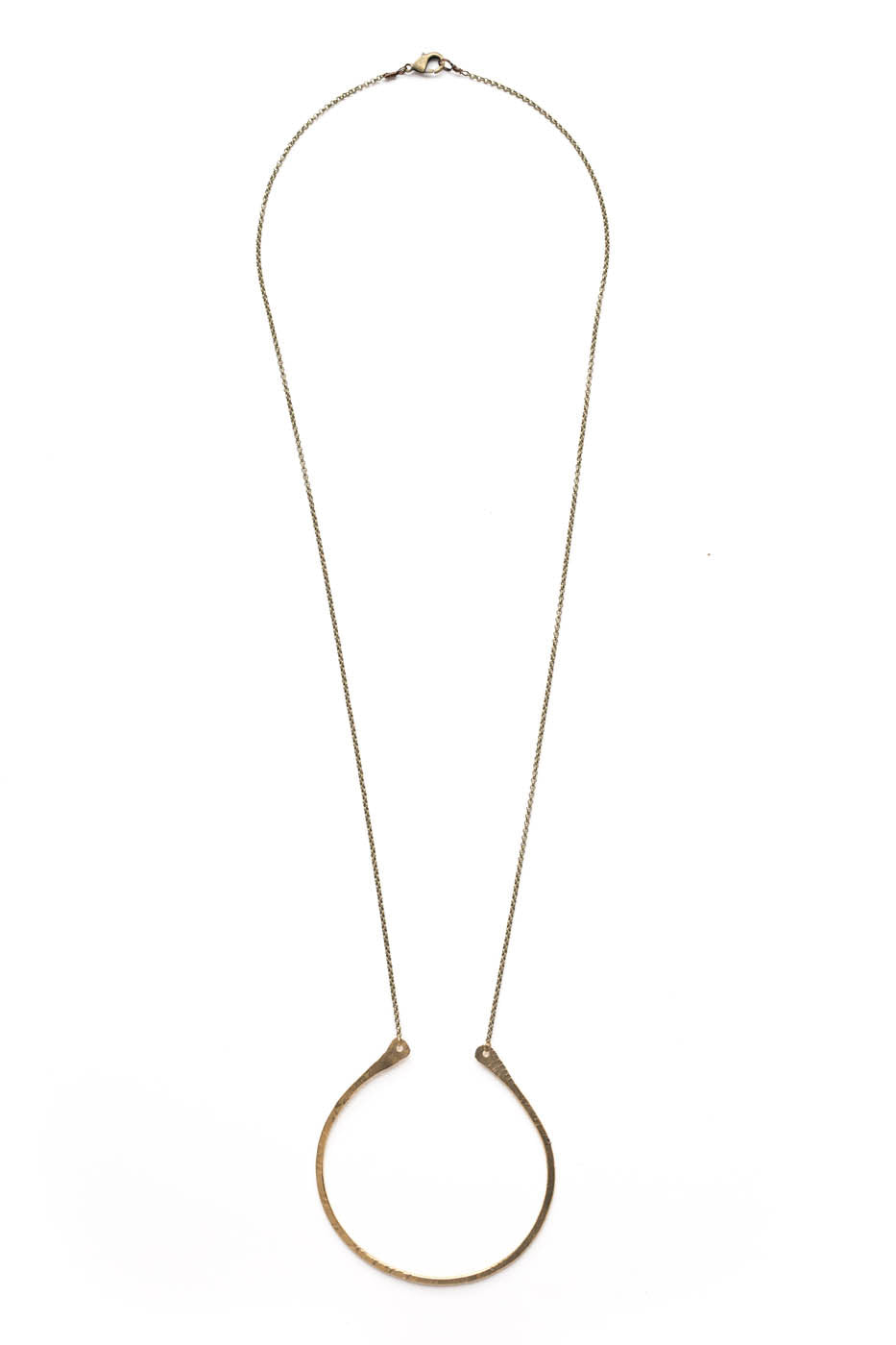 "Medium Flat Curved ""U"" Necklace on Brass Chain"