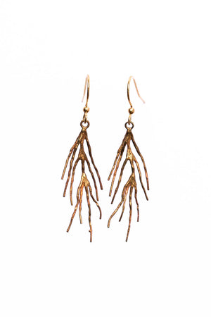 Brass Twig Charm Earrings