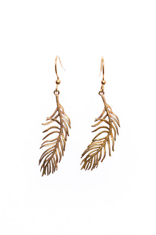 Brass Feather Earrings
