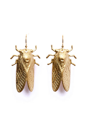 Golden Cicada Earrings