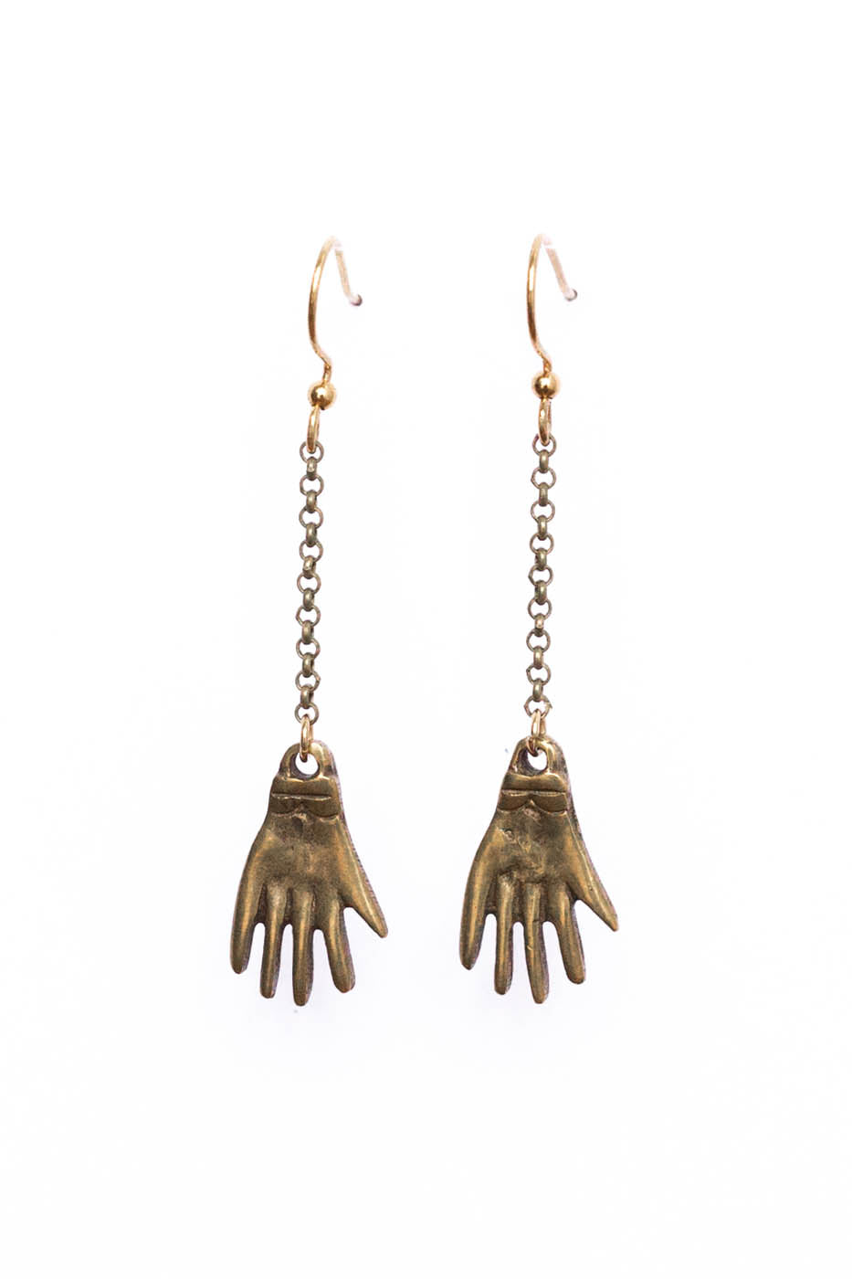 Brass Hand Charm Earrings on Brass Chains