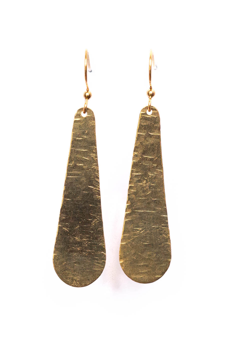 Large Hammered Drop Earrings