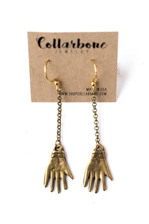 Brass Hand Earrings