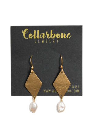 Hammered Brass Diamond + Pearl Earrings
