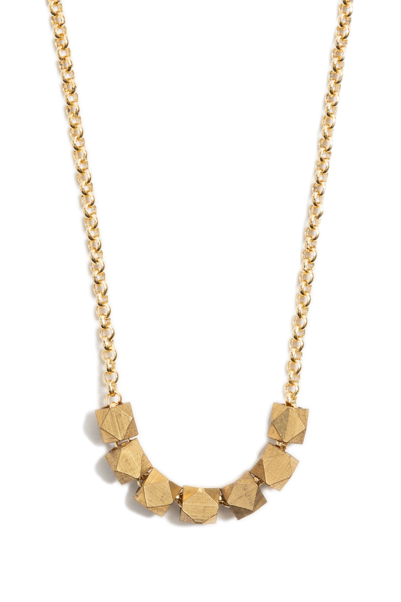 Large Gold Geometric Necklace on Gold Chain