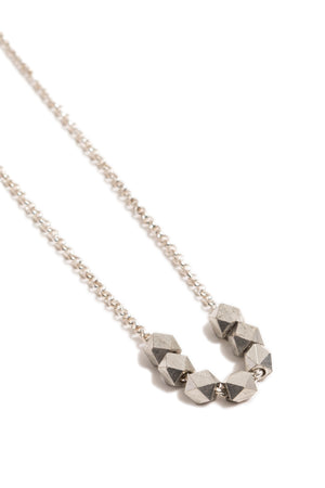Large Silver Geometric Necklace on Silver Chain