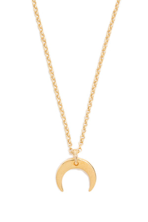 Tiny Gold Crescent Moon Necklace on Matte Gold Chain