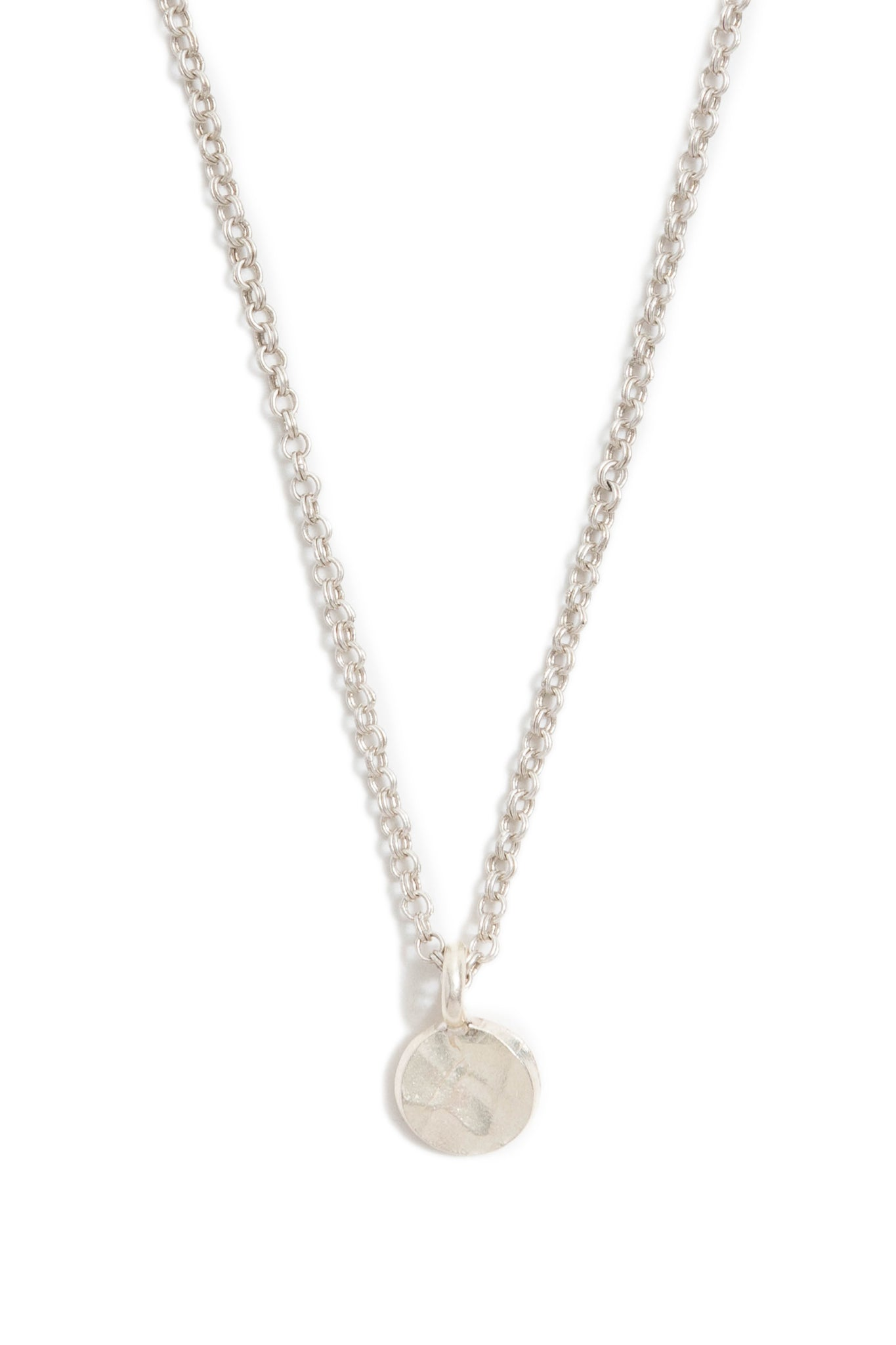 Mini Silver Hammered Circle Necklace