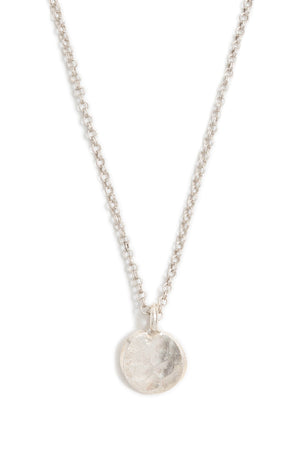 Small Silver Hammered Circle Necklace