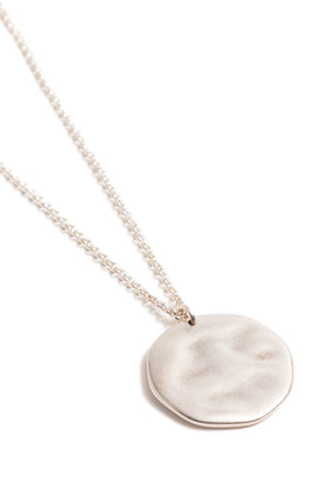 Large Silver Hammered Circle Necklace