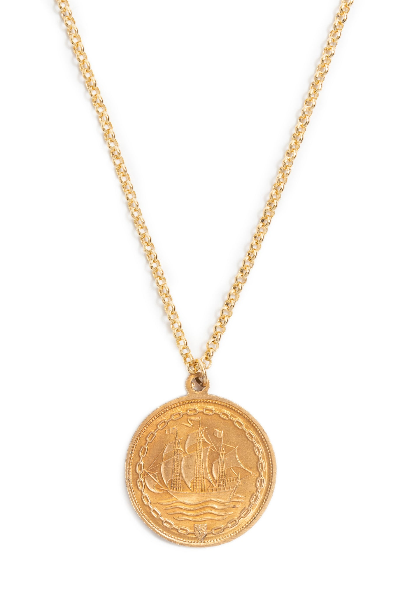 Reversible Brass Coin Ship Necklace