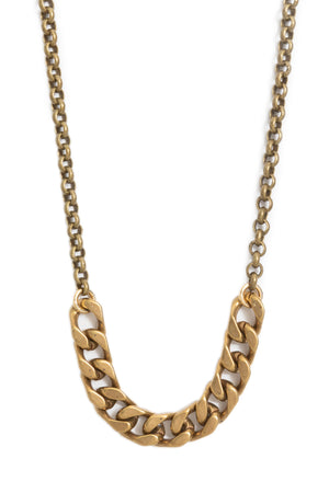 Antique Brass Curb Chain + Rolo Chain Choker