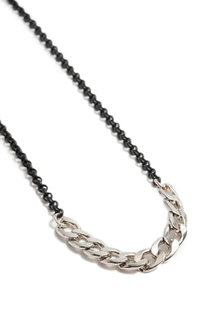 Silver Curb Chain + Black Rolo Chain Choker