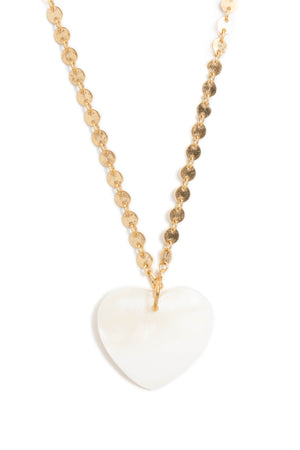 Mother of Pearl Heart + Circle Chain Choker
