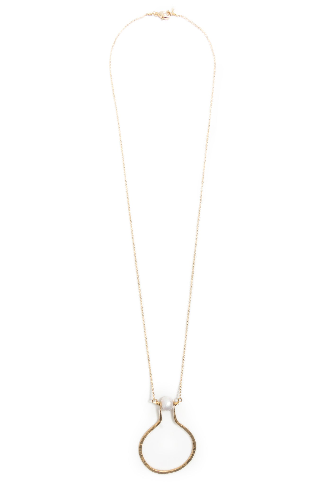 Floating Pearl Hammered Brass Vase Necklace