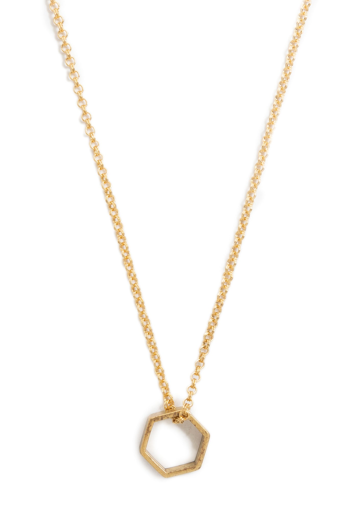Small Brass Hex Necklace on Gold Chain