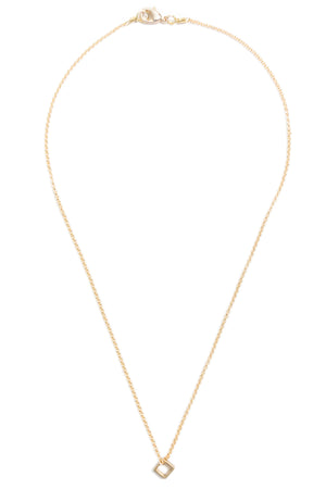 Tiny Brass Square Necklace on Gold Chain