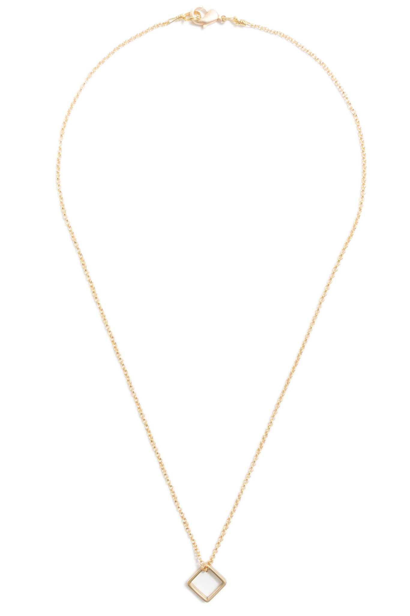 Small Brass Square Necklace on Gold Chain