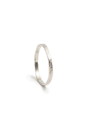 Thin Sterling Silver Hammered Stacking Ring