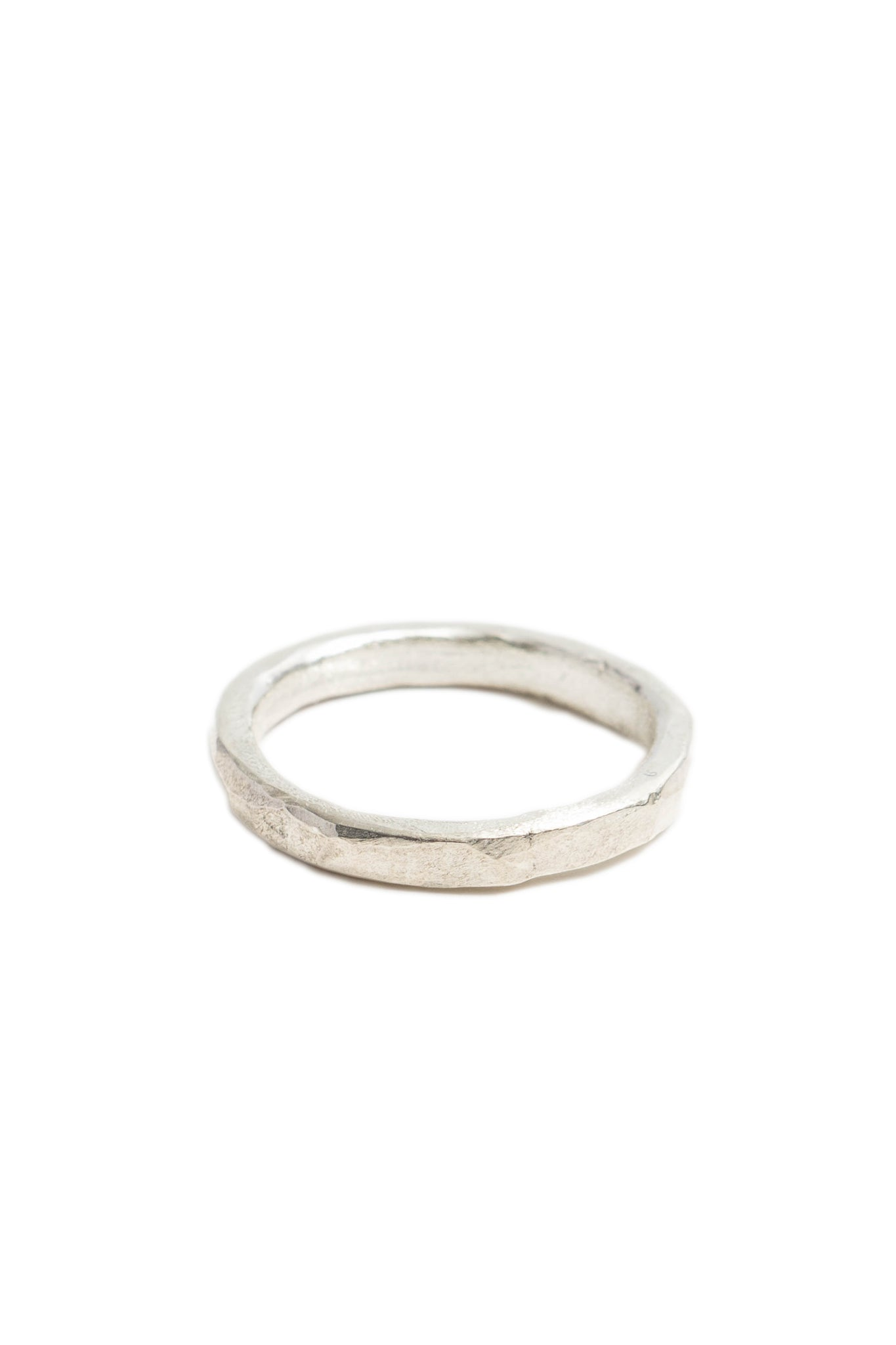 Thick Sterling Silver Hammered Stacking Ring