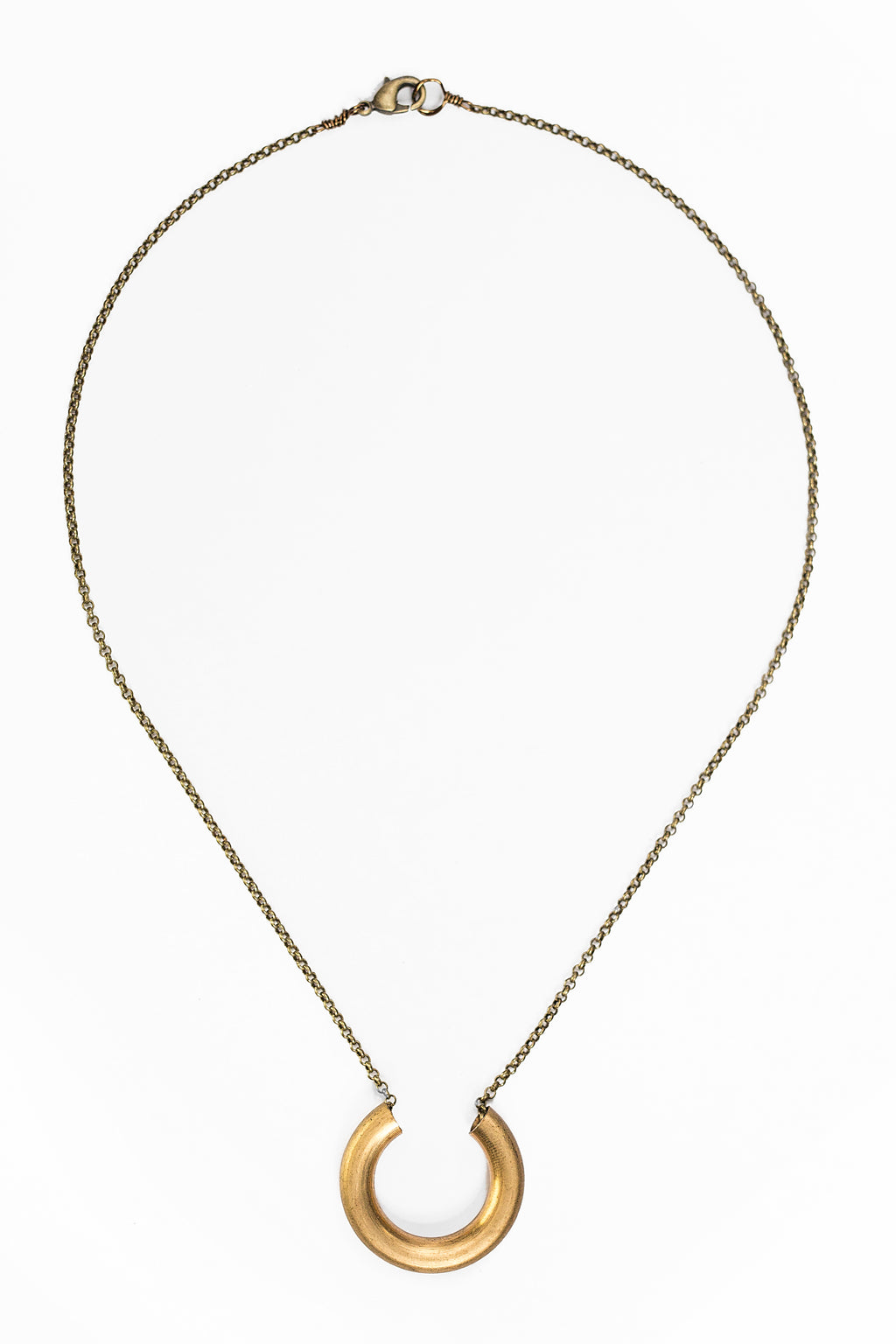 Brass Horseshoe Noodle Necklace