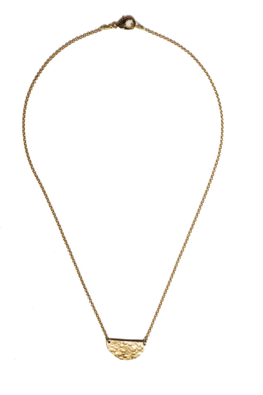 Tiny Brass Half Moon Necklace