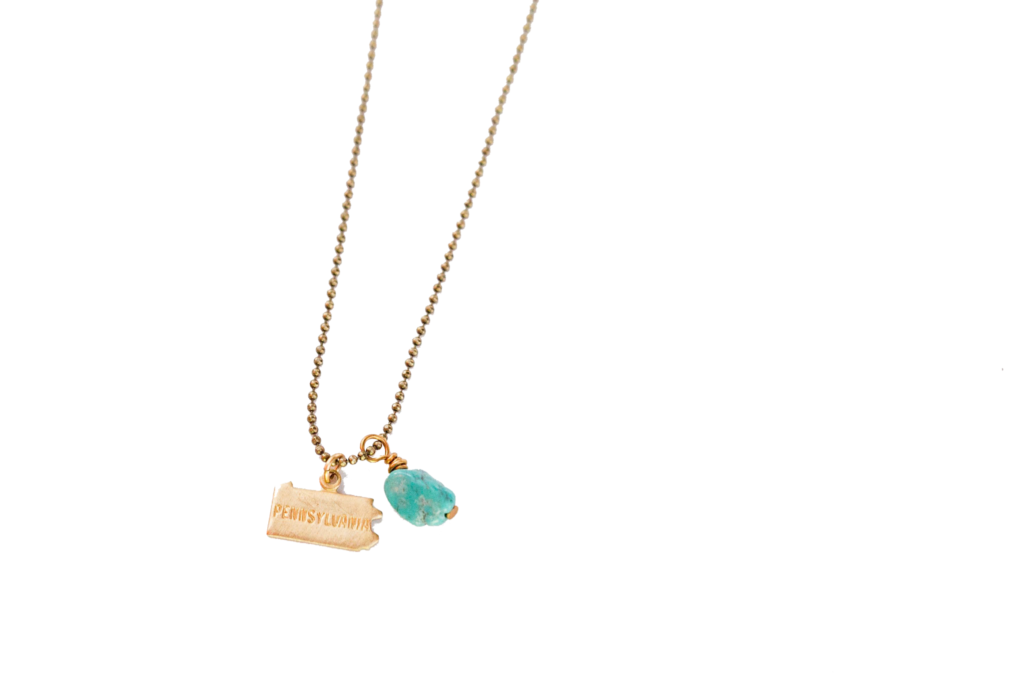State Charm Necklace w/ Turquoise Nugget on Brass Ball Chain