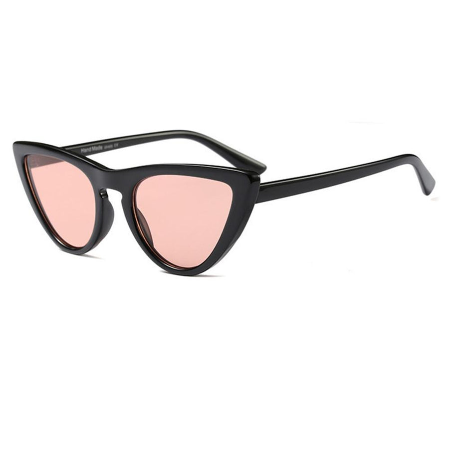 Retro 1990s Narrow Frame Colorful Flat Lens Cat Eye Sunglasses