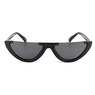 Small Retro 90's Lunar Shape Flat Top Cat Eye Sunglasses
