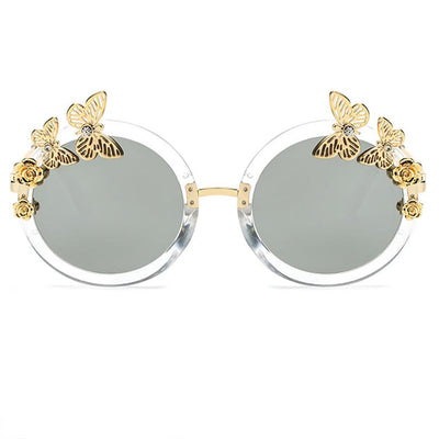 Women's Round Novelty Festival Floral Sunglasses