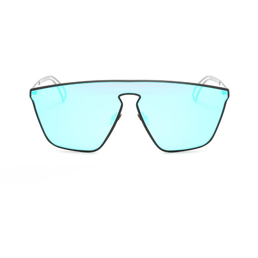 Retro Contemporary Mirrored Geometric Flat Lens Sunglasses