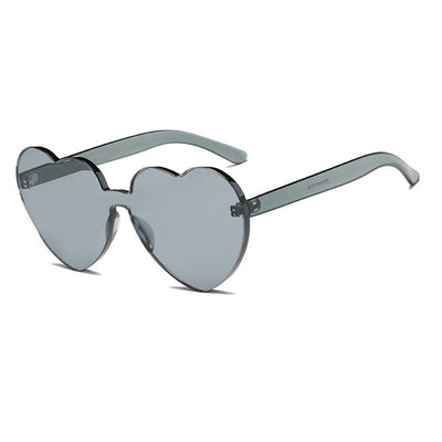 Women's Heart Shaped Monoblock Color Tone Sunglasses