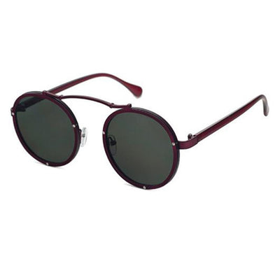 Mens Vintage Dapper Top Bar Round Sunglasses