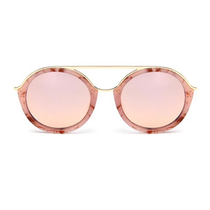 Retro Euro Double Bridge Round Mirror Lens Sunglasses