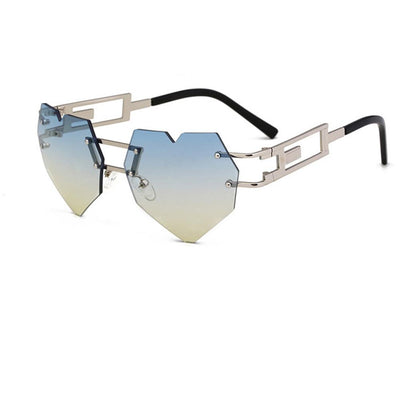 8 Bit Novelty Heart Shape Laser Cut Mirrored Flat Lens Sunglasses